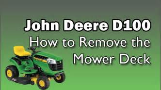 deere d100 series lawn tractor how to remove the mower deck