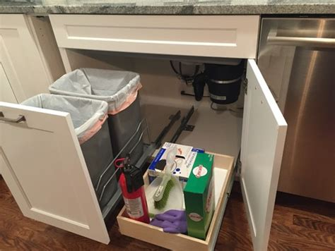 under sink waste disposal trash pullout and drawer under sink finally installed