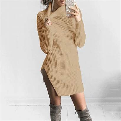 Collar Sweater Hollow Hem Split Osbridal