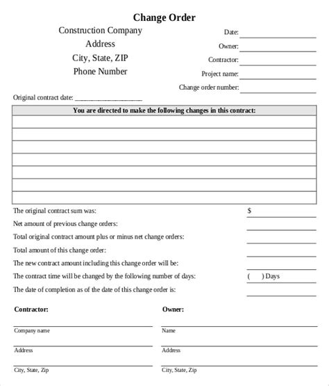 Engineer Contract Exle by Change Order Template Exle Construction Change Order Request Form Sle Change Order