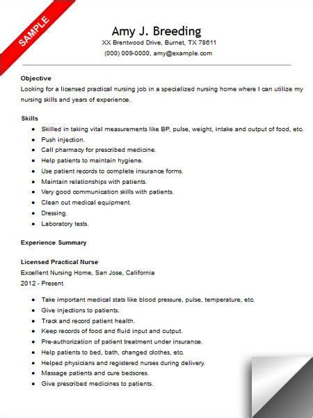 licensed practical resume sle resume exles