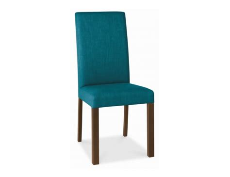 walnut and teal upholstered dining chair