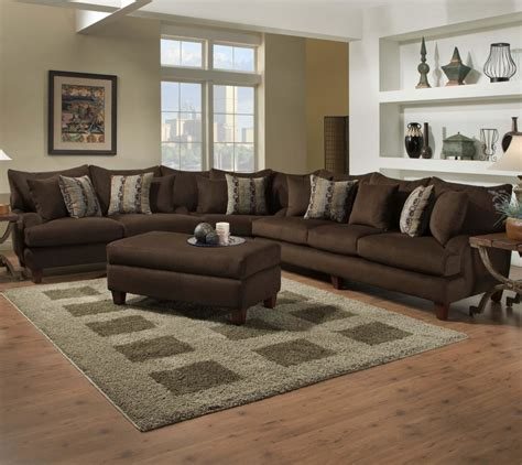 furniture brown velvet l shaped sofa with ottoman coffee