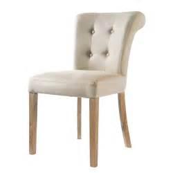 chaise de chaise capitonnée en écru boudoir maisons du monde