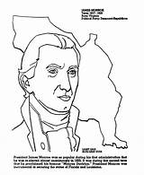 Coloring James Monroe Presidents Printables President Madison Doctrine Usa 5th States United Template sketch template