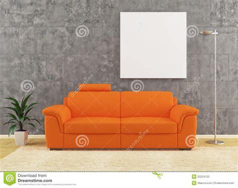 modern orange sofa  dirty wall interior design stock