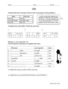 Rates, Unit Rates And Rate Reasoning Worksheet (common Core 6rp2 And 6rp3b