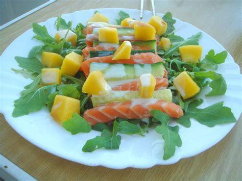comment cuisiner un concombre salade de roquette saumon cru concombre et mangue sauce au wasabi ou comment cuisiner dans