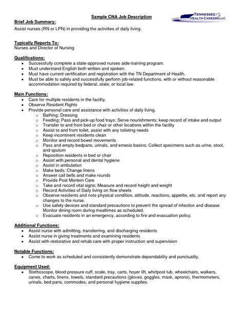 sample of resume with job description sample cna certified nursing assistant job description