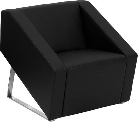 deco black leather reception chair contemporary