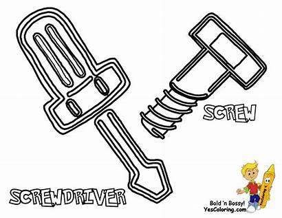 Tools Construction Coloring Pages Screwdriver Printables Tool