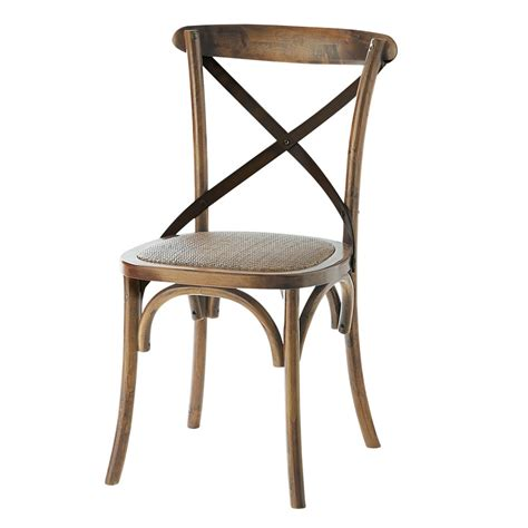 image chaise chaise en rotin naturel et chêne effet vieilli tradition