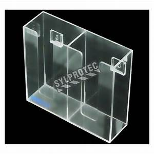 Clear acrylic glove box holder with 2 vertical bins.