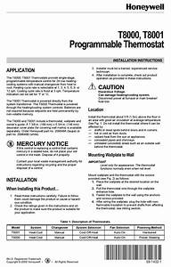 Honeywell T8000 Installation Instructions Manual Pdf
