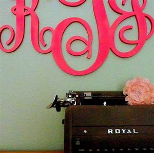 stylish monogrammed wall decor With monogram letters over bed