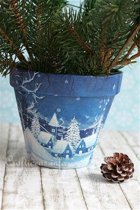 crafts  christmas winter village flower pot
