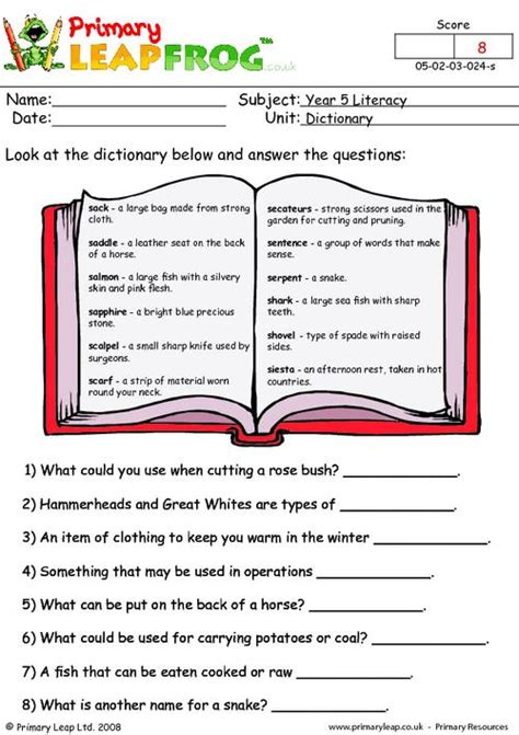 primaryleap co uk dictionary work 4 worksheet grammar