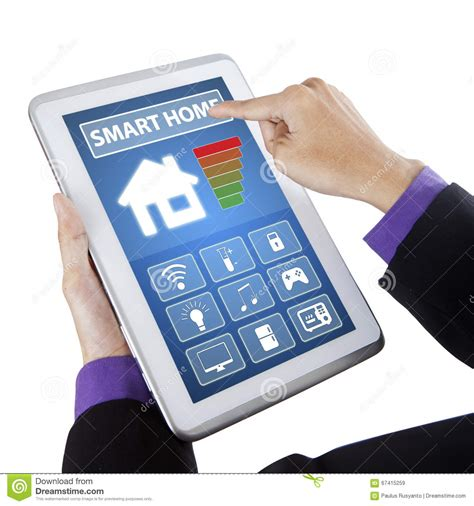 touching smart home controller on tablet stock image image 67415259