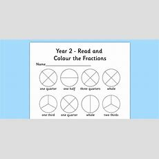Year 2 Read And Colour A Fraction Worksheet  Activity Sheet