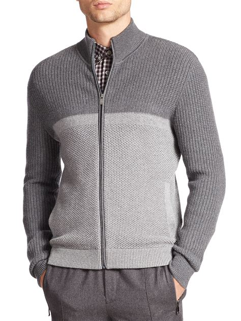 zip front sweater z zegna colorblock zip front sweater in gray for lyst