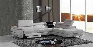divani casa e9054 modern grey leather sectional sofa w With sectional sofa w recliners