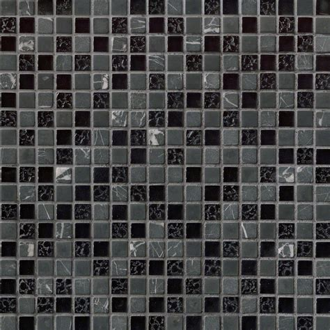 "58"" x 58"" Marquee Black Glass Stone Blend Mosaic Tile"