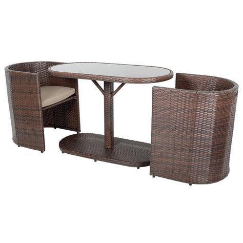 2 chair table set brown latina bistro garden table chairs rattan wicker