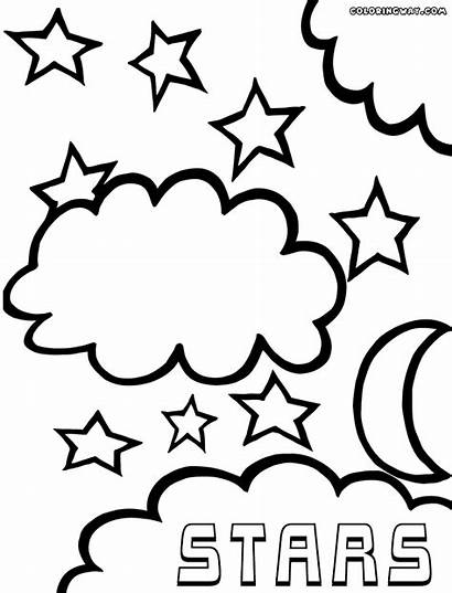 Coloring Star Pages Moon Stars Clouds