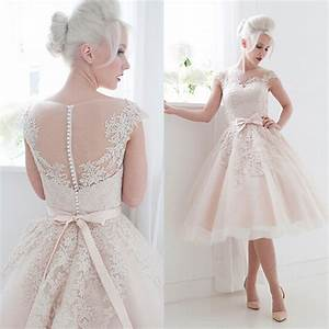 cute pink bateau lace tea length wedding dresses short cap With cute wedding dresses