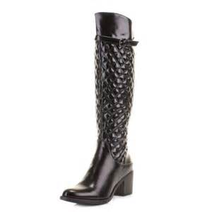 womens boots knee high black womens black heel quilted knee high leather style heeled boots size 3 8 ebay