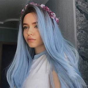 Fantasy Beauty Nature Color Dark Root Ombre Pastel Blue ...