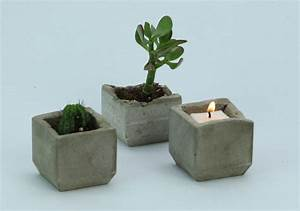 Make your own trendy concrete plant and candle holders for Kitchen cabinets lowes with make your own candle holder