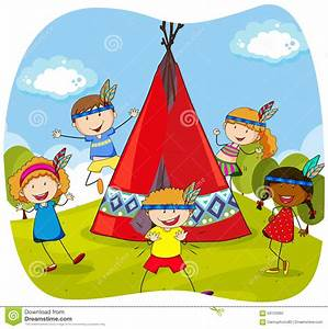 Tipi Indien Enfant : enfants jouant des indiens par le tipi illustration de vecteur illustration du filles tente ~ Melissatoandfro.com Idées de Décoration
