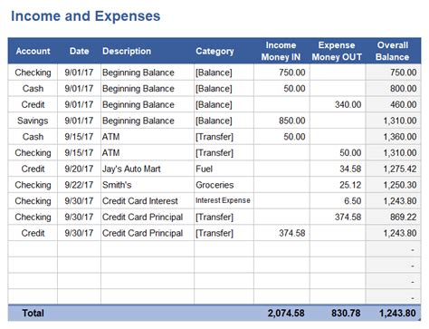 income  expense tracking worksheet