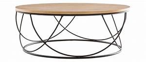 Table Basse Ronde Bois Metal : table basse bois et m tal noir ronde 80 cm lace miliboo ~ Teatrodelosmanantiales.com Idées de Décoration