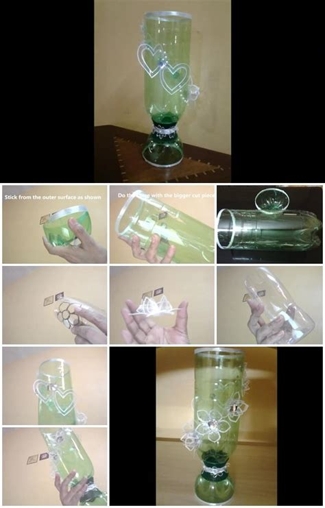 how to make glass l how to make elegant glass showpiece from plastic bottles