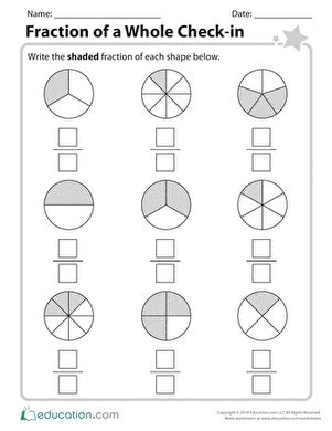 parts of a whole worksheet education com