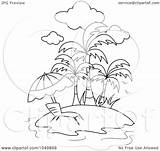 Outline Beach Coloring Chair Tropical Clip Lounge Illustration Royalty Clipart Waterfall Rf Bnp Studio Pages Template sketch template