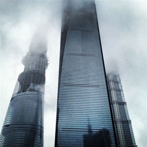 Shanghai Towers lost in the clouds Shanghai China Photo