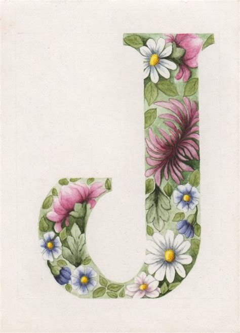 soft  beautiful original painting floral letter   colleen olson letter