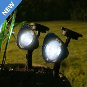 solar spotlight set 2 garden feature lights pots plants