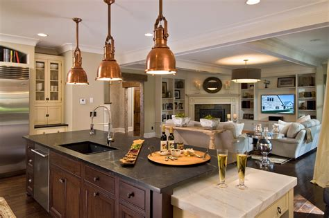 copper light fixtures kitchen rustic with black white