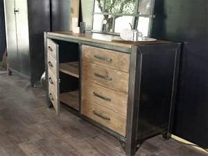 Bahut De Cuisine : bahut bois acier industriel sur mesure micheli design ~ Edinachiropracticcenter.com Idées de Décoration