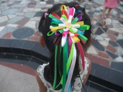 ribbon crafts  kids  rainbow hair clip