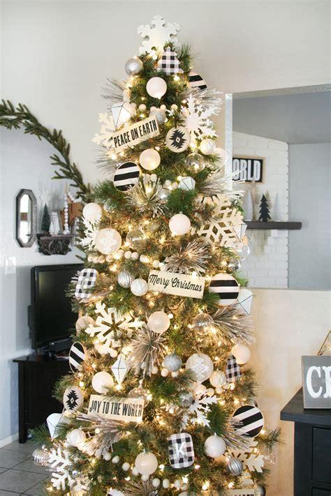 black white christmas tree decor