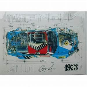 Diagram Of An Alpine Renault A110 Gr4 1973 Print By