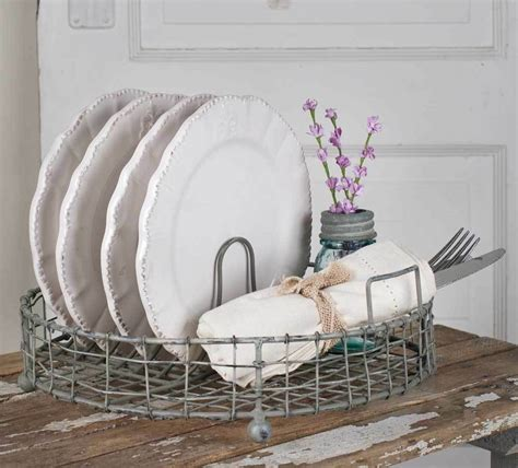 vintage style shabby chic wire dish drying rack weathered grey   rustic ebay