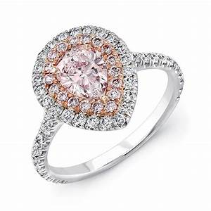 Pear shaped pink diamond halo engagement ring 18k rose for Pink diamond wedding rings