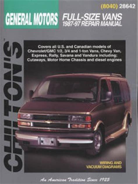 car owners manuals for sale 1997 chevrolet g series 3500 on board diagnostic system chilton general motors full size vans 1987 1997 repair manual