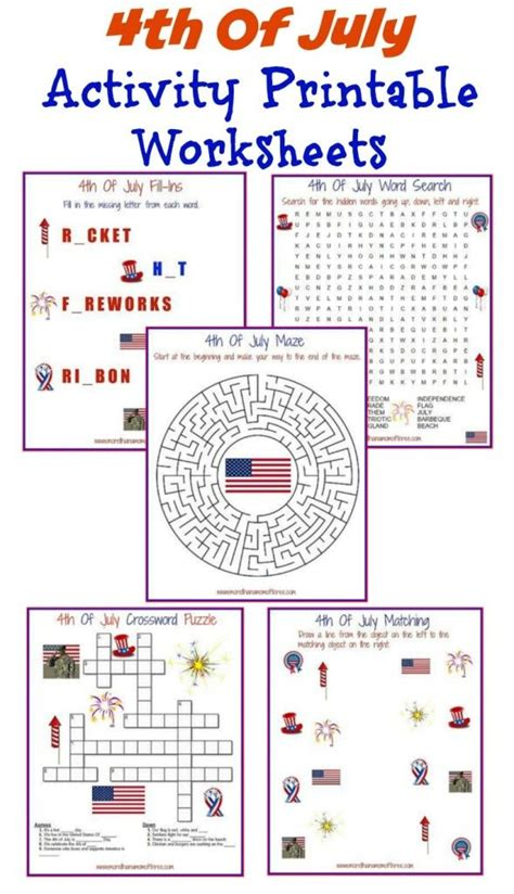 4th of july activity printable worksheets activities